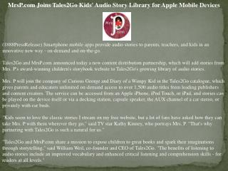mrsp.com joins tales2go kids' audio story library for apple