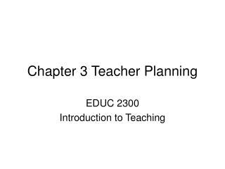 Chapter 3 Teacher Planning