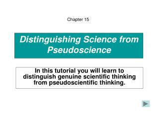 Distinguishing Science from Pseudoscience