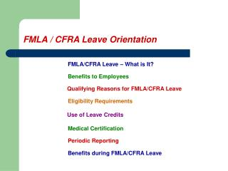 FMLA  CFRA Leave Orientation