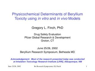 Physicochemical Determinants of Beryllium Toxicity using in ...