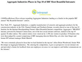 aggregate industries places in top 10 of ibf most beautiful