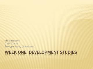 Week One: Development Studies