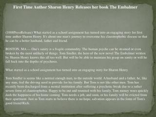 First Time Author Sharon Henry Releases her book The Embalme