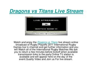 watch playoff nrl @ st george dragons vs gold coast titans l