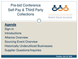 Pre-bid Conference Self-Pay  Third Party Collections