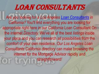 los angeles loan consultants california
