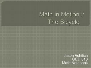 Math and the Bicycle
