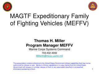 MAGTF Expeditionary Family of Fighting Vehicles MEFFV