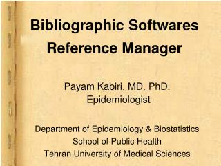 Bibliographic Softwares Reference Manager