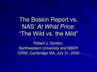 The Boskin Report vs. NAS