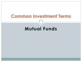 Mutual Funds Investment Terms