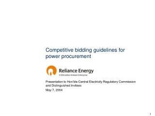 Competitive bidding guidelines for power procurement