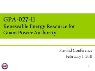 GPA-027-11 Renewable Energy Resource for Guam Power Authority