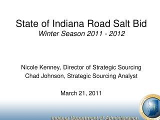 State of Indiana Road Salt Bid Winter Season 2011 - 2012