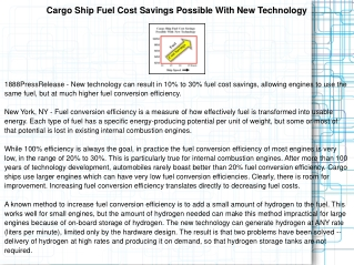 Cargo Ship Fuel Cost Savings Possible With New Technology