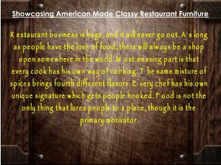 Showcasing American Made Classy Restaurant Furniture
