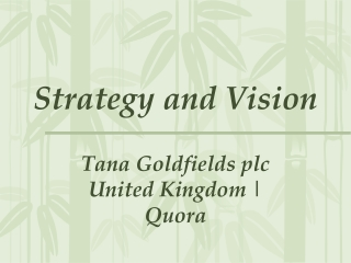 Strategy and Vision - Tana Goldfields plc United Kingdom