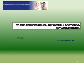 To Find Reduced Unhealthy Overall body Odor-Buy Active Dryso
