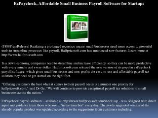 ezpaycheck, affordable small business payroll software for s
