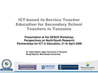 ICT-based In-Service Teacher Education for Secondary School ...