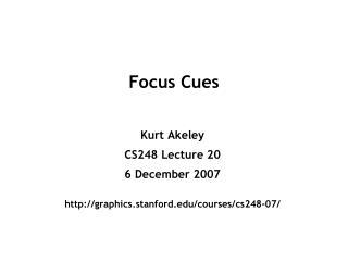 Focus Cues