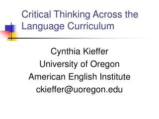 Critical Thinking Across the Language Curriculum