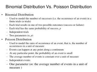 Binomial Distribution Vs. Poisson Distribution
