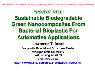 PROJECT TITLE: Sustainable Biodegradable Green Nanocomposites ...