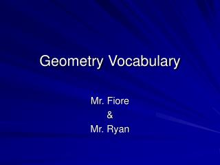Geometry Vocabulary
