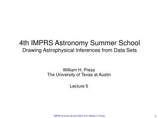 4th IMPRS Astronomy Summer School Drawing Astrophysical ...