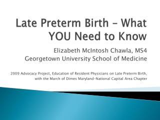 Late Preterm Birth