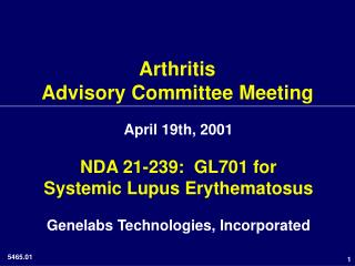 Arthritis Advisory Committee Meeting