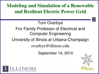Modeling and Simulation of a Renewable and Resilient Electric ...