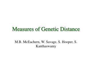 Measures of Genetic Distance