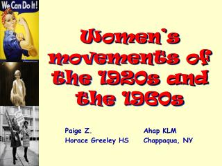 Women s movements of the 1920s and the 1960s