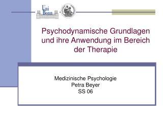 Psychodynamische Grundlagen und ihre Anwendung im Bereich der ...