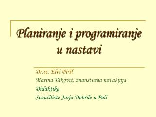 Planiranje i programiranje u nastavi