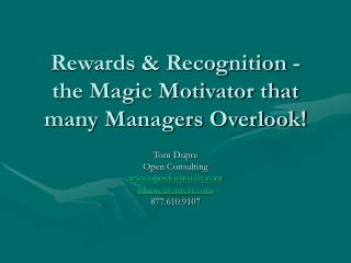 Rewards  Recognition - the Magic Motivator that many Managers ...
