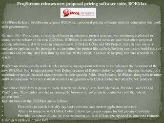 projstream releases new proposal pricing software suite, boe