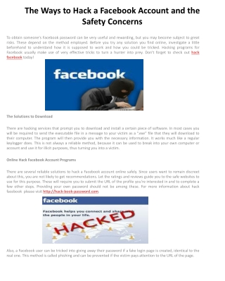 The Ways to Hack a Facebook Account and the Safety Concerns