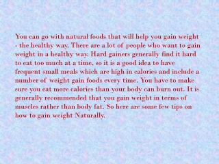 Weight Gain tips