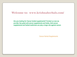 Cancer Herbal Supplements
