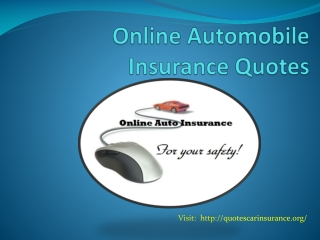 Online Automobile Insurance Quotes