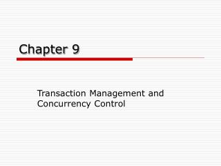 Transaction Management and Concurrency Control - CUNY