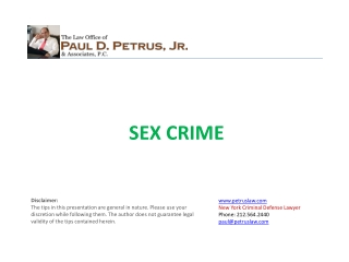 Sex Crime Defense Lawyer NY - Paul D Petrus
