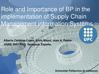 Role and Importance of BP in the implementation of Supply Chain ...