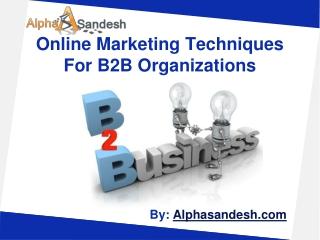 Online Marketing Techniques For B2B Organizations