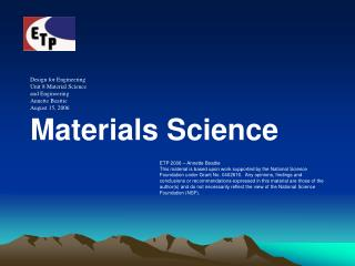 Materials Science PowerPoint