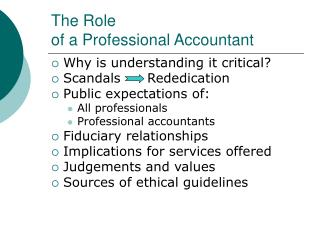 The Role  of a Professional Accountant